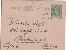 1908-11 H&B Cp54a Used Outward to Birkenhead Ke7 1/2d Yellow-Green L9 Ps Pcard