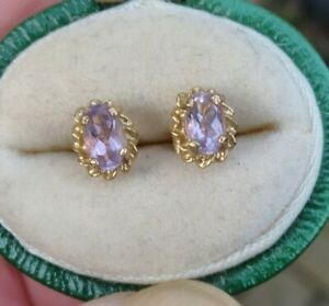 Small 9ct Yellow Gold Amethyst Stud Earrings