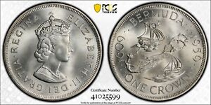 1959 Bermuda Silver Crown PCGS MS67 Registry Coin KM 13 Gold Shield True View