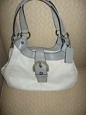 COACH  OFF WHITE / GRAY LEATHER SOHO SHOULDER BAG  F17219