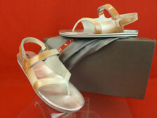 PRADA PATENT OMBRE LEATHER FLATS TWO TONES GLADIATOR LOGO THONG SANDALS 37.5