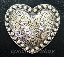 """Set of 6 HORSE HEADSTALL SADDLE TACK 1"""" ANTIQUE HEART BERRY CONCHOS screw back"""