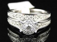 Ladies 14K White Gold Diamond Solitaire Engagement Wedding Bridal Ring Set 1 Ct