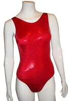 New girls gymnastic leotard red metallic