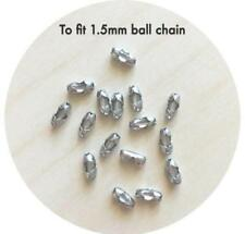 20x Stainless Steel End Connectors for 1.5mm Ball Chain silicone Diy necklace