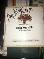 Amy Alcott  1983 Dinah Shore Signed Mission Hills Club Scorecard
