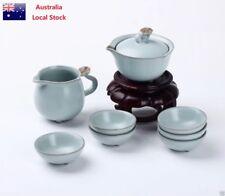 Chinese Ru Porcelain 8 Piece Delux Gift Tea Set Teapot+Sharing Mug+6 Tea Cups