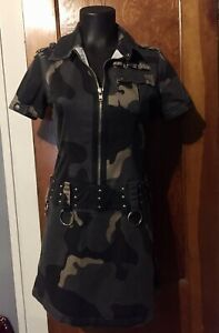 Vintage Goth Military Style Mini Dress Hot Topic Camouflage Zip Up Sexy!