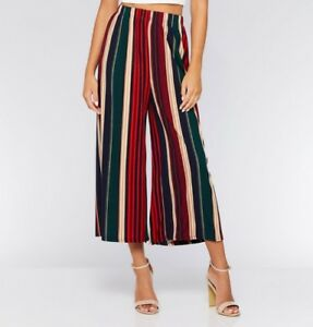 Women's Green & Red Stripe Pleated Culotte Trousers Fashion - One size fits all