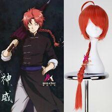 Gintama Silver Soul kamui Synthetic Long Orange Braid Anime Cosplay Costume Wigs