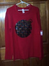 New HOLIDAY TIME L 12/14  Womens Ugly Christmas Sweater Ornament Sparkle NWT