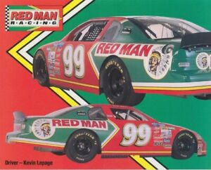1999 Kevin Lepage Red Man Tobacco Chevy Monte Carlo NASCAR Busch postcard