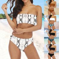 Femme Ensemble de Bikini Bandeau Taille Haute Maillot de Bain Imprimé Boho