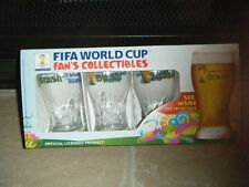 2014 FIFA WORLD CUP BRASIL BEER T-GLASS 16 OZ PINT GLASS (Set of 4) CLEAR BRAZIL