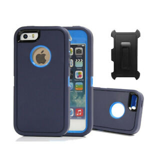For iPhone SE 5 5S Hard Case Shockproof Defender Cover Screen Protector & Clip B