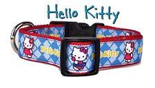 "Hello Kitty dog collar, handmade, adjustable, buckle collar, 1"" wide or leash"
