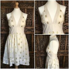 French Connection Halter Neck Dress Size 8 Cream And Gold