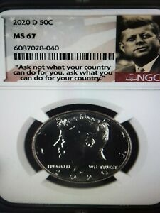 2020-D Kennedy Half Dollar 50c NGC MS 67