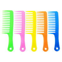 2pcs Hairdressing Salon Plastic Anti-Static Handle Wide Tooth Hair Comb WE9