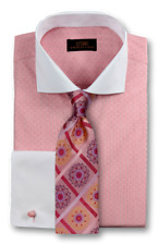 Dress Shirt Only by Steven Land Classic Fit French Cuff- Coral/Pink -DW1730-PK