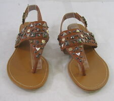 "Tan Spikes 1"" Low Wedge Heel Summer Sandals Sexy Shoes Size 6"