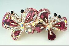 Formal/Bridal Gold Tone Alloy Rose Coloured Glass Crystal Butterfy Hair Barrette