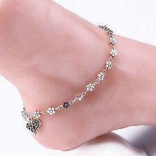 Tibetan Silver Plated Chain Flower Anklet / Ankle Bracelet Personalise Charm Hot