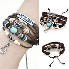 Men Women Handmade Turkish Eye Adjustable Leather Bracelet Wristband Jewelry Pro