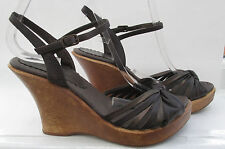 FAITH SIZE 5 (38) BROWN LEATHER HIGH HEEL WOODEN WEDGES