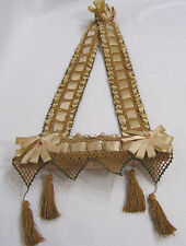 Vintage Hanging Pincushion Satin Ribbon Crochet Tassels  1930s  Hangs 18""