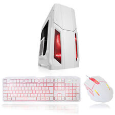 CIT Storm WHITE ATX GAMING PC Case 12cm RED LED Fan with Keyboard & Mouse Set