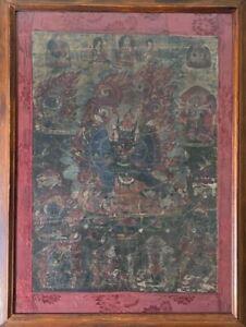 RARE Antique 18th Century Tibetan Thangka Yamantaka Painting Thanka