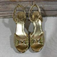 Marc Fisher Shoes Omelia Espadrilles Jewels Sandal Wedge Womans Size 9 V4
