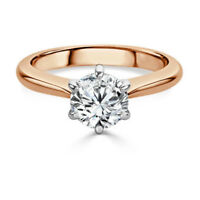 Hallmarked 14K Rose Gold D/VVS Solitaire 2.00Ct Diamond Engagement Ring Size N