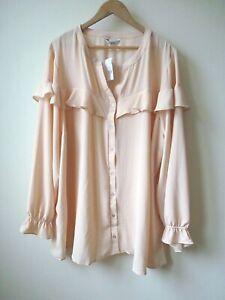 New Ex Evans Blush Pink Frill Front Crepe Button Shirt Blouse Plus Size 30/32