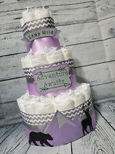 3 Tier Diaper Cake - Mountain Diaper Cake for Girl Diaper Cake Adventure Awaits