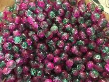 CRYSTAL GLASS BEADS ROUND 8 MM CRACKLE 200 CHARMS SPACERS FINDINGS ASSORTED
