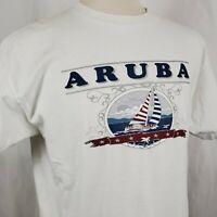 Vintage Aruba Sailing Graphic T-Shirt XL White Cotton Single Stitch Caribbean