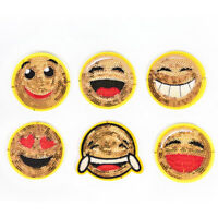 6pcs/set Embroidery Sequined Emoji Patches Smile Face Iron On Patches AppliqueNT
