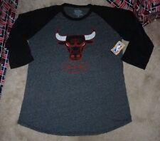 NEW NBA Chicago Bulls Basketball 3/4 Sleeve Raglan Tri Blend Men 2XL XXL NEW NWT