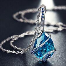Collier pendentif chaîne femme plaqué rhodium & zircon cubique bleu