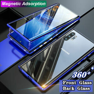 Magnetic Double Sided Tempered Glass Phone Case Metal Bumper 360Protective Cover