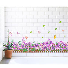 Purple Flower Wall Stickers Waterproof Removable Bedroom Mural Decals Home Decor