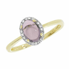 Diamond Oval Amethyst Yellow Gold Fine Rings