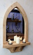 Gothic Arch Wooden  Pine Mirror with Shelf and Brackets 84.5 cm long