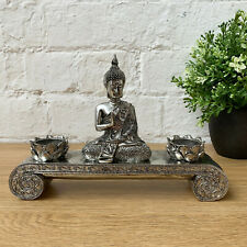 Silver Sitting Buddha Statue Decorative Ornament Pyramid Incense Holder Burner