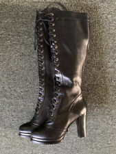 Vero Cuoio Black Leather Knee-High Boots Size 7.5