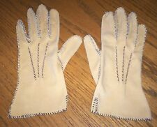 "Vintage Women's Beige Dress Gloves 9"" Long 3"" Middle Finger Nylon Top Stitching"