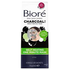 Biore Charcoal Self Heating One Minute Mask 4 Sachets NEW