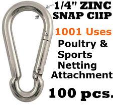 "100 PCS 1/4"" ZINC CARABINER SNAP CLIPS SPORTS NETTING BASEBALL BATTING CAGE GOLF"